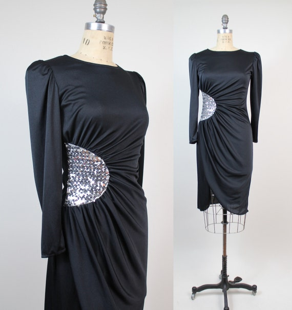 FINAL SALE. . . 80s vintage dress / little black dress / silver sequin applique / xsmall