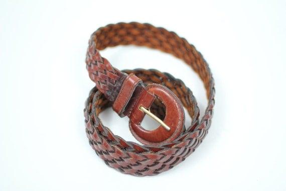 80s vintage leather belt / vintage woven leather belt / vintage brown leather braided belt / L