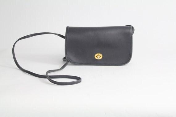 80s vintage black leather purse / supple leather shoulder bag