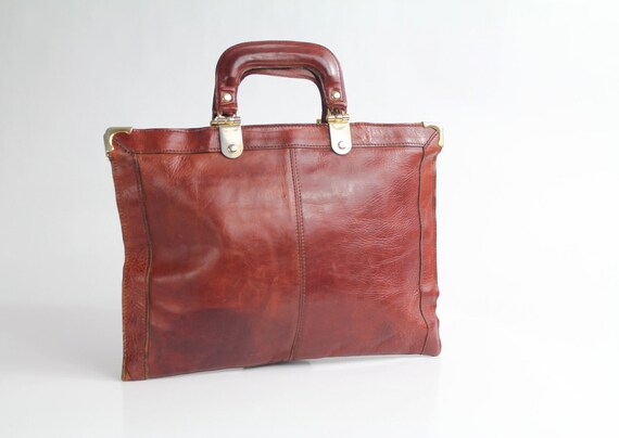 60s vintage BOND STREET Italy leather attache // vintage 1960s cognac leather briefcase / made in Italy