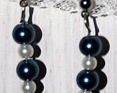 Blue and white beaded earrings -G10- free shipping