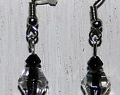 black dangly bead earrings -G110- free shipping