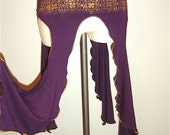PURPLE/PLUM GOLD HANDPRINTED STRETCH SKELT (SKIRT/BELT)