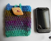 Striped Cell Phone Pouch Crocheted Wool