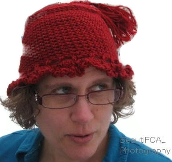 SALE  Crocheted Red Hat with Tassel and Ruffle