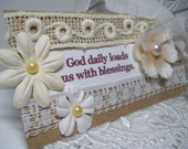 Simple Truth Tag - Shabby Chic Tag - Scripture Tag - Hand Sewn -  Flower Tag - Embellishment