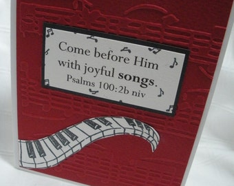 Piano and Music Notes Embossed Handmade Greeting Card