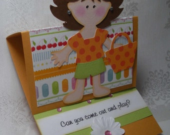 Paper Doll Come Out and Play Handmade Card