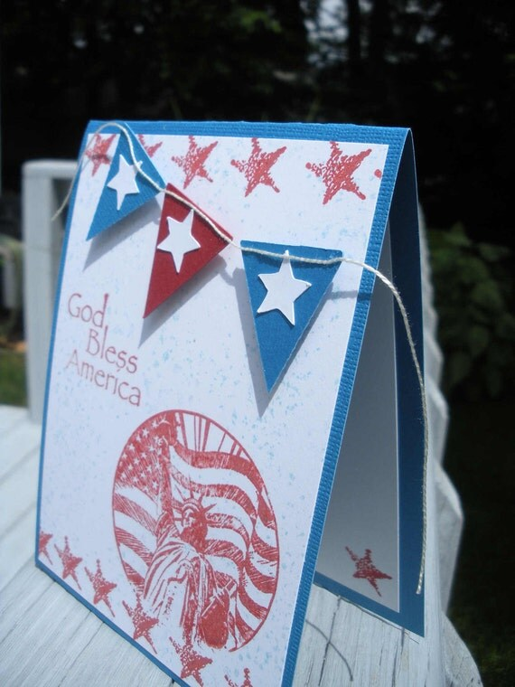 God Bless America Card - Patriotic Card - Handmade Card - Red White Blue Card