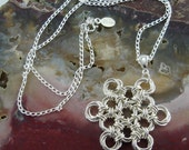 Chainmaille Necklace Pendant Captive Mobi Sterling Silver