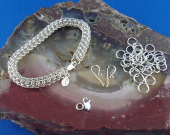 Chainmaille Bracelet Kit for Full Persian Weave In 19 gauge Sterling Silver