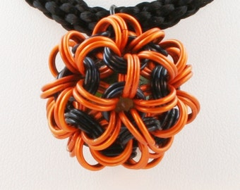Jewelry Dodecahedron Chain Maille Pendant Black & Orange