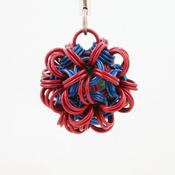 Jewelry Dodecahedron Chainmaille Pendant Red & Blue