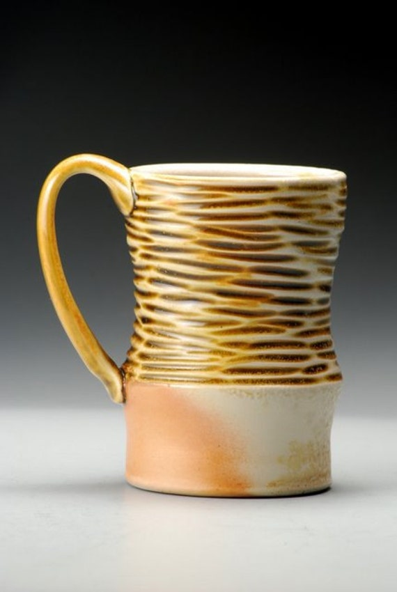 Amber Carved Mug, hand carved stoneware, inspired by nature