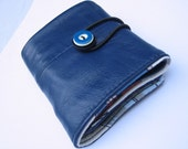 sailor blue recycled leather wallet