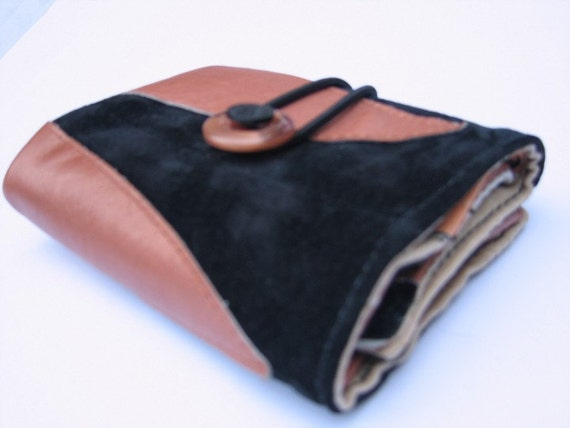 Black suede and copper leather recycled wallet