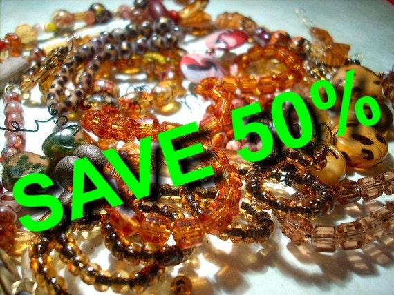 SAVE 50% Amber and Brown Glass Bead Assortment