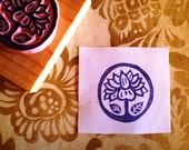 Lotus Flower hand carved rubber stamp