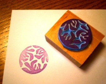 Orchid hand carved rubber stamp