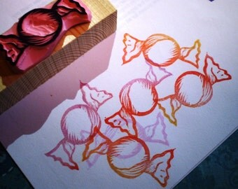 Candy rubber stamp  -- hand carved rubber stamp