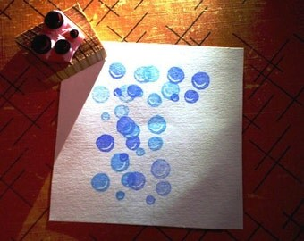 Bubbles -- hand carved rubber stamp
