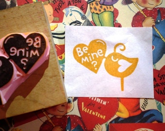 Be Mine bird   - hand carved rubber stamp