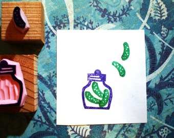 Pickles in a jar -- hand carved rubber stamp