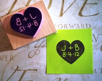 Custom wedding rubber stamp in heart