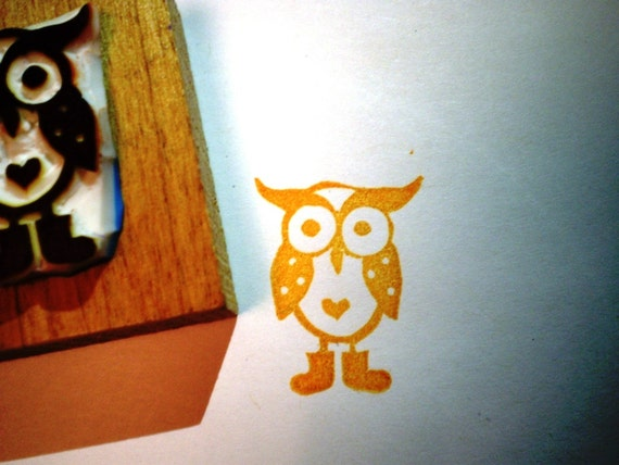 Owl with boots rubber stamp -- hand carved rubber stamp