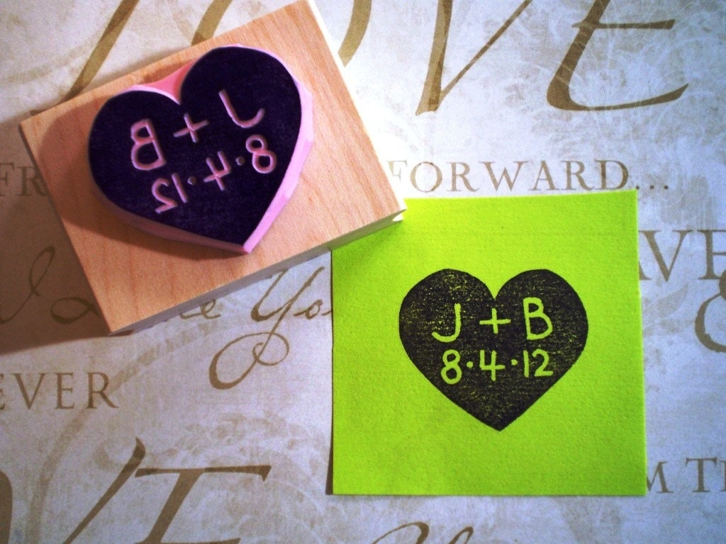 Personalized Rubber Stamps For Wedding Invitations: Personalized Wedding Rubber Stamp In Heart