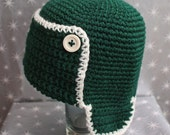 Green and Cream - Bomber Earflap Beanie - 12 to 24 months, Other Sizes Available