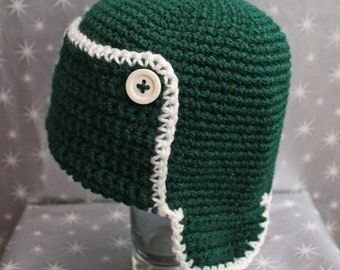 HUGE SALE - Green and Cream - Bomber Earflap Beanie - 12 to 24 months, Other Sizes Available