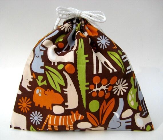 Small Wet Bag in Chocolate Brown 2D Zoo Safari