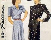 Simplicity 1007 Unprinted vintage wartime shirtwaist dress pattern / Sz 14 / B 32 / 1944
