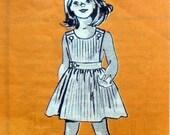 Marian Martin 9313 vIntage mail order girls wrap sundress pattern with original metered envelope / Child Sz 8 / Breast 27 / 1950s