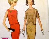 McCalls 7618 Uncut Vintage Pencil Skirt and Top Two Piece Dress Pattern \/ Sz 12 \/ Bust 32 \/ 1960s