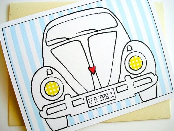 Love Card - Anniversary - Birthday - Wedding - Vintage Volkswagen