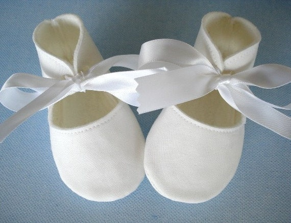 White Cotton Baby Booties with White Satin Ribbon Ties