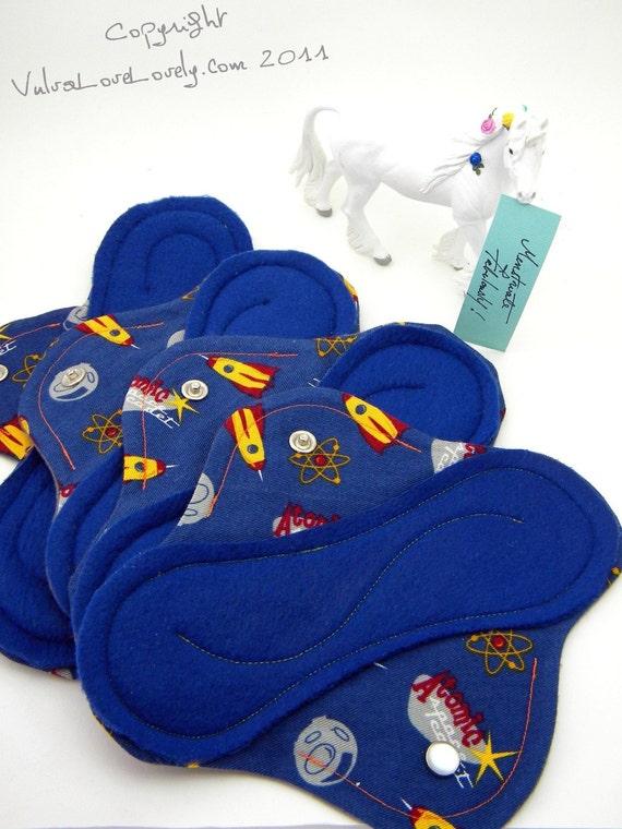 Set of 4 Leakproof Cloth Menstrual Pads - Atomic Space Cadet