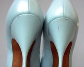 RESERVED for Deco13 Vintage 50s 60s MadMen Stiletto High Heels Pumps - Baby Blue Leather and MIRRORS - Size 5 1/2 N