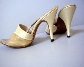 50s Springolator High Heel Pumps Tan 2 Tone Barbie Style Mules 4 Inch Vintage Stiletto 5N Clearance