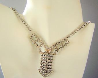 Vintage Bold Rhinestone Necklace - Avant Garde Arrow Design
