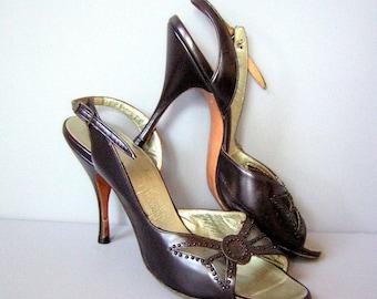 Vintage 60s Heels Scandalous Sheer Black Slingback Stilettos 5 1/2N