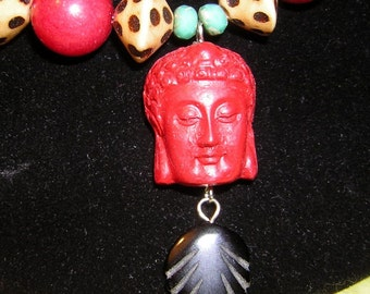 Vintage Red Shiva Necklace & Earring Set Zen Buddha Namaste HandMade Upcycled CLEARANCE