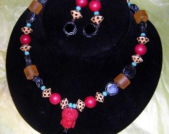 Vintage Red Shiva Necklace & Earring Set Zen Buddha Namaste HandMade Upcycled CLEARANCE