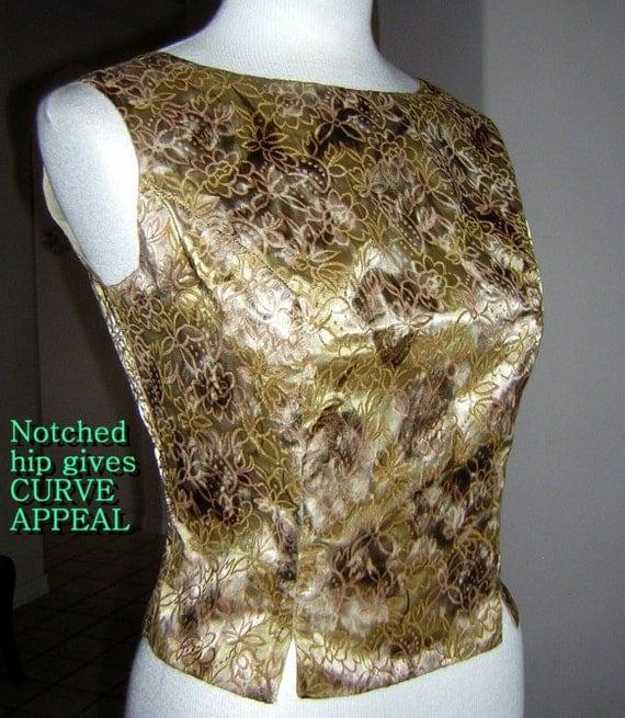 Vintage Rockabilly Sex Kitten Satin Gold Flocked Top Blouse Sleeveless - SMALL - B 37