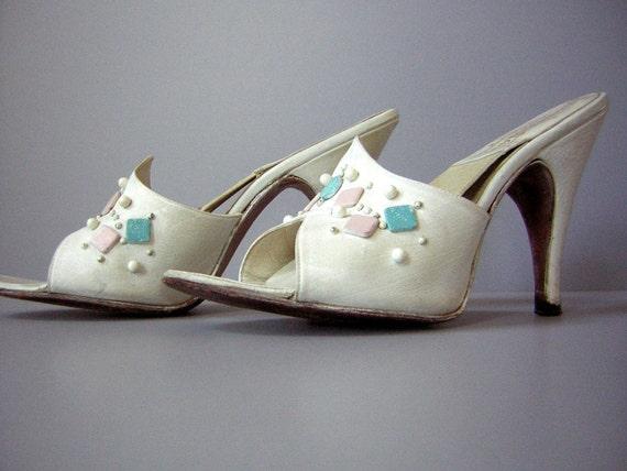 Vintage 50s Springolator High Heels Pumps Rockabilly White 5n