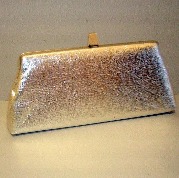 RESERVED for Maggie Shuck - Vintage 60s Metallic Silver Clutch Purse Handbag - Sleek Chic MadMen Favorite
