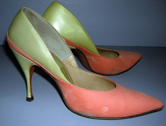 Vintage Mad Men retro 60s Orange and Yellow Siletto Heels Shoes Pumps 4N