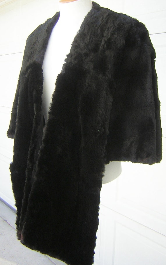 Ultra Posh Vintage Sheared Black Beaver Wrap Stole - Highest Quality MINT Condition Hollywood Glam